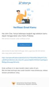 3 email verifikasi pendaftaran berhasil karu prakerja gelombang 17 2021