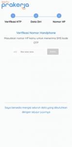 3. Kirimkan kdoe verifikasi untuk memveriikasi nomor hp di prakerja.go.id