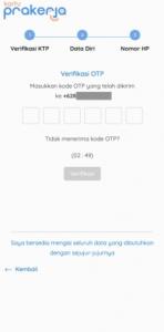 4. Masukkan kode OTP yang dikirimkan melalui SMS