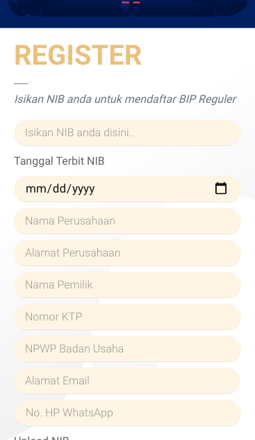 form pendaftaran BIP 2021 masukan surat izin usaha