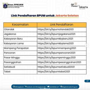 link pendaftaran umkm jakarta selatan - BPUM 2021