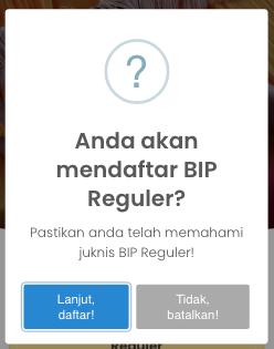 pilih lanjut daftar bip reguler jpu atau tidak
