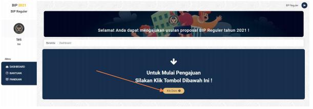 proses pengajuan proposal bantuan dalam dashboard sistem informasi BIP 2021