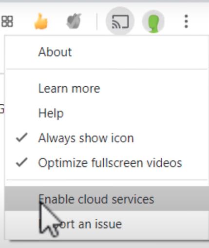 aktifkan enable cloud services untuk terhubung google meet video audio