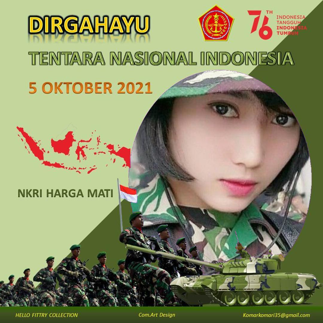 2. Twibbon HUT TNI Tahun 2021 karya Komari